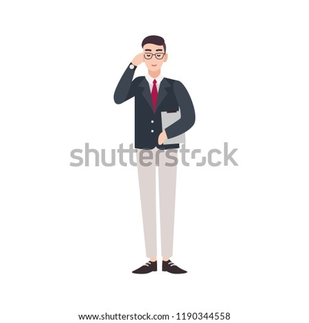 Politician, government worker, public servant, official or delegate dressed in smart suit. Funny male cartoon character isolated on white background. Colorful vector illustration in flat style.