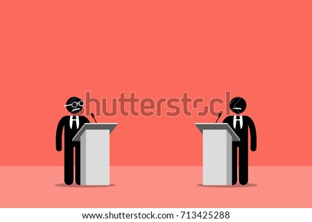 Politicians debating on the stage. Vector artwork depicts presidential debates, argument, and contest.