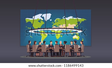 Politicians or corporate officers group authority people discussing strategy sitting at round table. Big war room world map. Conference hall, boardroom or meeting room. Flat vector illustration
