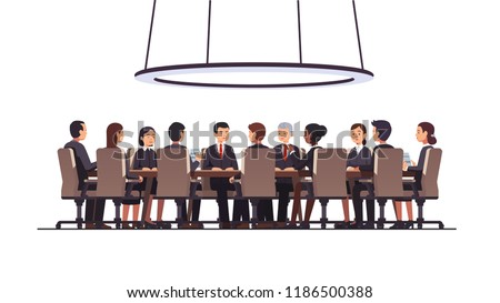 Politicians or corporate officers group authority people talks sitting at round table. Big war room. Negotiations conversation conference hall, boardroom or meeting room. Flat vector illustration