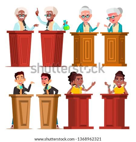 Politicians, Speakers, Tutors Cartoon Vector Characters Set. Speakers Giving Speech, Presentation Isolated Cliparts Pack. Senate Candidates. Male, Female Orators At Podium Tribunes Flat Illustration