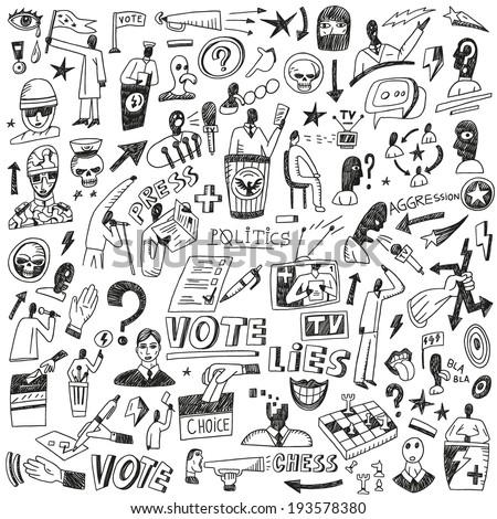 politics   doodles set