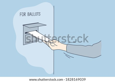 Politics, election, america, voting concept. Man voter citizen hand putting absentee sheet of paper with chosen president candidate in mailbox for ballots. United States of America elections 2020. Сток-фото ©