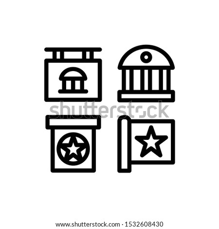 Politics Icon Set with Flag, Government, Institution, and Podium, Vector Illustration