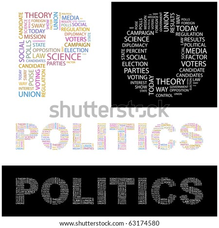 POLITICS. Word collage. Illustration with different association terms.