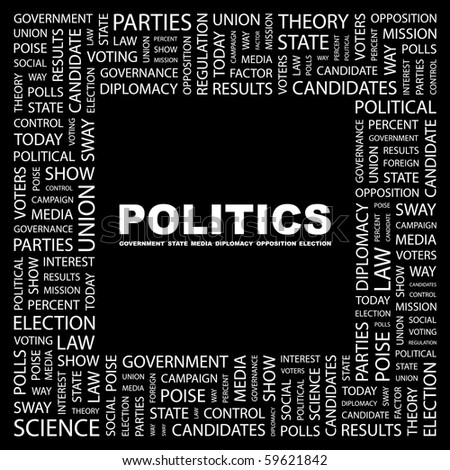 POLITICS. Word collage on black background. Illustration with different association terms. - stock vector