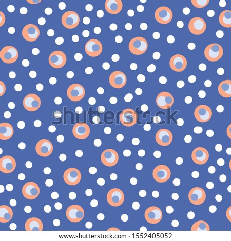 Polka dot abstract vector seamless repeat pattern perfect for fabrics,kids stationary and products,packaging,wrapping paper,greeting card backgrounds,nursery decor or home decor product background.