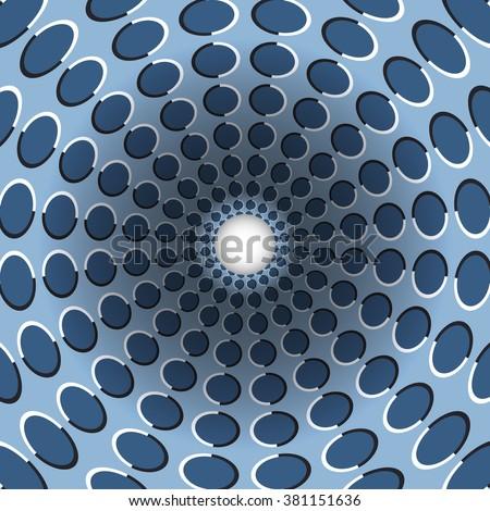 Polka dot funnel. Rotating hole. Motley moving background. Optical illusion illustration.