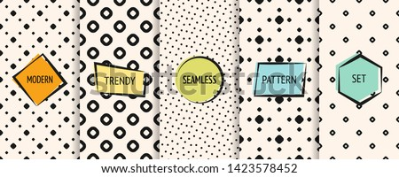 Polka dot pattern collection. Vector geometric seamless textures with circles, dots, spots. Set of black and white minimal abstract dotted background swatches with trendy modern colorful labels