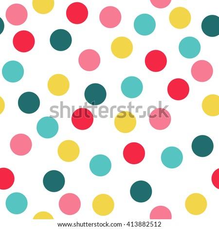 Polka Dot Pattern, Seamless Vector Background.