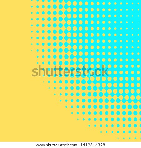 Polka dot pop art halftone pattern. Blue dots on yellow background. Modern bright festive vector illustration. Abstract curves. Points backdrop. Bright colors dotted spotted