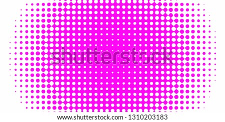 Polka dot pop art halftone pattern. Gradient dots background. Modern pink dotted wide vector illustration. Abstract curves. Points backdrop