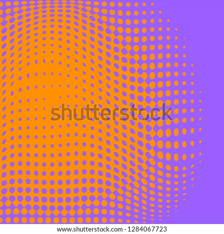 Polka dot pop art halftone pattern. Orange dots on purple background. Modern bright festive vector illustration. Abstract curves. Points backdrop. Bright colors dotted spotted