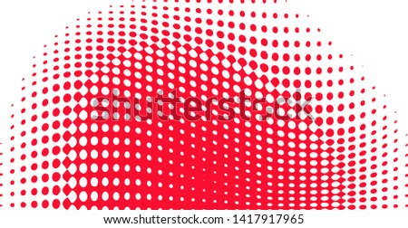 Polka dot pop art halftone pattern. Red dots on white background. Modern bright festive wide vector illustration. Abstract curves. Points backdrop. Bright colors dotted spotted