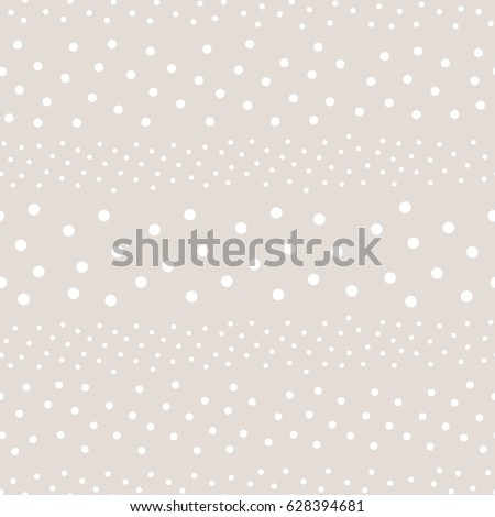 Polka dot seamless pattern, vector monochrome subtle texture in soft pastel colors, white & beige. Abstract background with randomly scattered different circles. Design for decor, textile, fabric, web