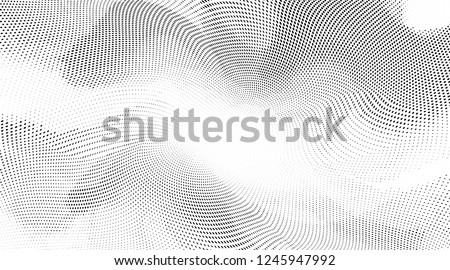 Polka dot wave halftone pattern. Gradient dots background. Modern vector illustration. Abstract curves. Points backdrop. Wavy dotted spotted  pattern. Monochrome wide template for web design