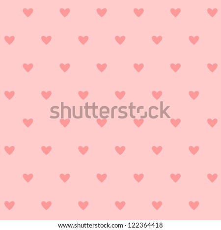 Polka dots seamless pattern with hearts. Valentines day background. Vector illustration