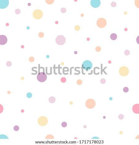 Polka Dots Seamless Pattern with Pastel Color. Dot Shapes Background. Can used for gift paper, invitation card for kids, Wallpaper Interior, Book cover, etc - EPS 10 Vector