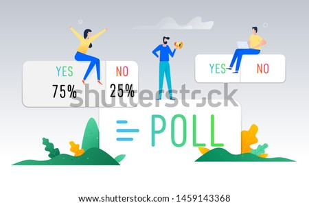 Poll ask questions social media instagram sticker, template icon, people teamwork, user interface button stories social media design, vector illustration