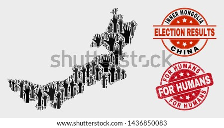 Poll Inner Mongolia map and seal stamps. Red round For Humans textured seal stamp. Black Inner Mongolia map mosaic of raised up voting hands. Vector composition for election results,