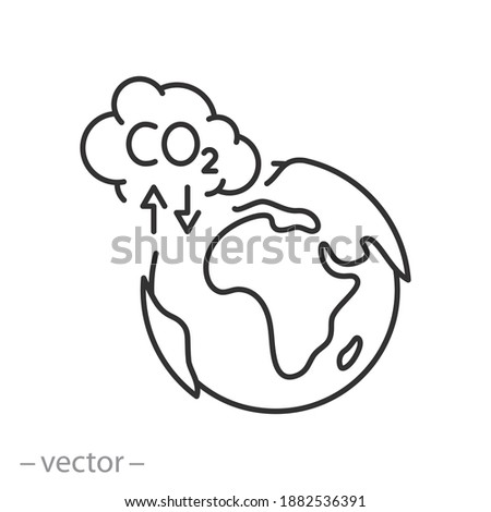pollution environmental co2 icon, cloud toxic smoke with earth planet, global warming concept, recycle carbon in the atmosphere, thin line symbol on white background - editable stroke vector