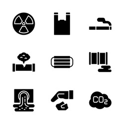Pollution Icon Set Including Radioactive, Plastic Bag, Cigarette, Gas Leak, Mask, Oil Spill, Waste, Littering and Carbon Dioxide