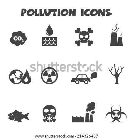 pollution icons  mono vector