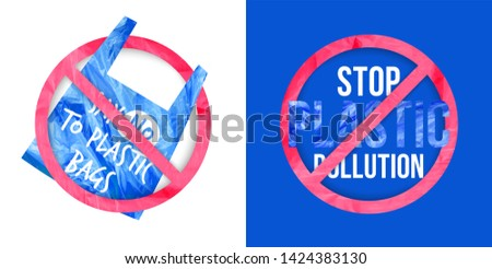 Pollution problem vector concept. Say no to plastic bag and stop plastic pollution. Slogan for T-shirt and apparels graphic vector Print.