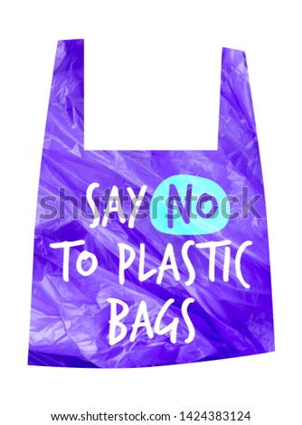 Pollution problem vector concept. Say no to plastic bag. Cartoon image of cellophane packet with signage calling for stop using polythene package. Slogan for T-shirt and apparels graphic vector Print.
