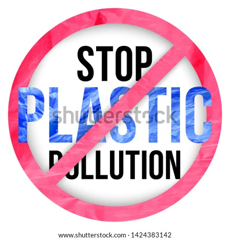 Pollution problem vector concept. stop plastic pollution signal. Slogan for T-shirt and apparels graphic vector Print.