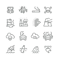Pollution related icons: thin vector icon set, black and white kit