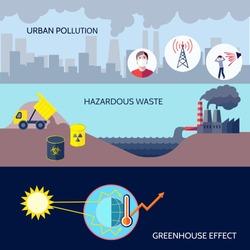 Pollution urban hazardous waste greenhouse effect icons flat set isolated vector illustration