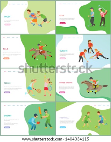 Polo and tennis game vector, british sports and competitions woman playing together using rackets and balls, racing and curling, cricket football. Different types of english sport