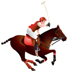 Polo horse and player vector image, the king of sports, hockey on horseback, team sport, polo pony, rider, long-handled mallet