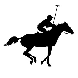 Polo player on isolated background. Horse polo silhouettes. Polo game. Silhouette of a polo player with horse. Eps 8