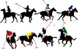 polo players vector silhouette