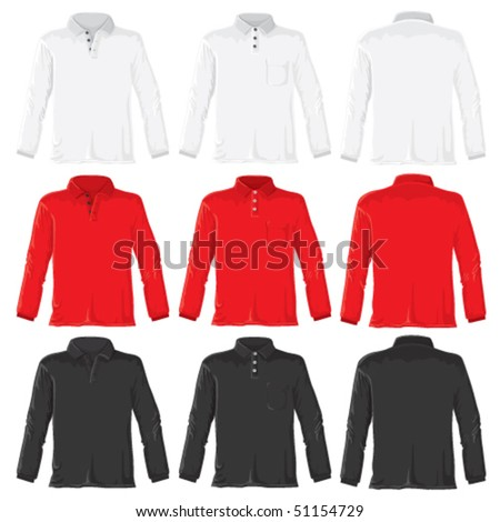 Polo shirt set with long sleeves. Without gradients, great for printing. Easy to handle. Vector.