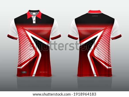 polo shirt uniform design, can be used for badminton, golf in front view, back view. jersey mockup Vector, design premium very simple and easy to customize. Photo stock ©