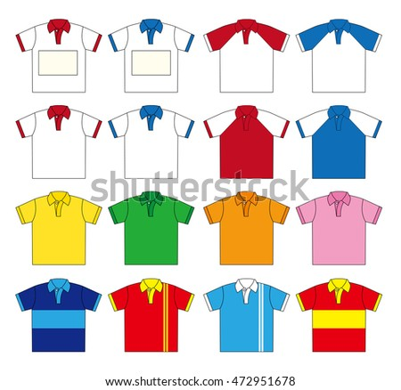 Polo shirt vector set (Sixteen type color)  / Two types of the upper left you can free design in Name Plate space.