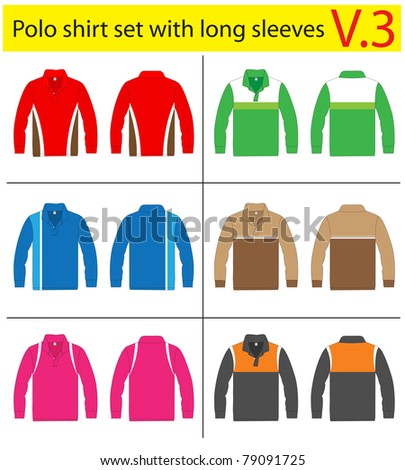 Polo Shirt with long sleeves. vector lined template design