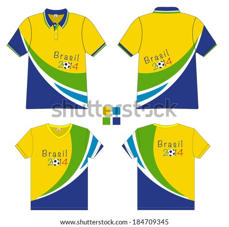 Polo shirt with soccer 2014 brazil vector illustration for Polo t shirt design images