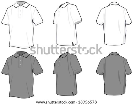 Polo shirts. Vectored shirts, three views in white and grey.