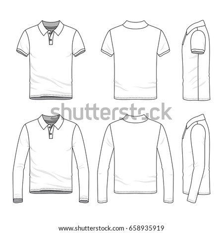 Polo shirts with short and long sleeves. Front, back and side views of clothing set. Blank vector templates. Fashion illustration.