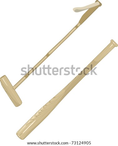 Polo Sticks and Baseball Bat. Vector illustration.