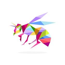 Polygon bee art image. vector illustration