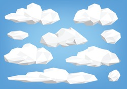 polygon cloud collection, low poly cloud illustration set