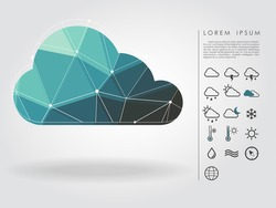 polygon cloud with weather icon vector