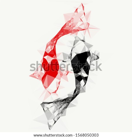 Polygon geometric twin fish,Koi fish,fancy carp red and black yin yang style ,Taoism style isolated background,vector background.