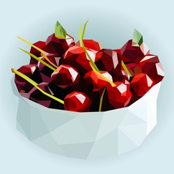Polygon gray bowl of red sweet cherry