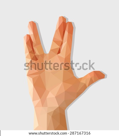 polygon hand raised with palm